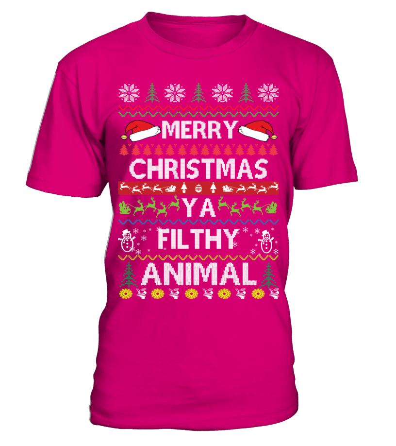 Amazing Christmas - Merry Christmas Ya Filthy Animal Round neck T-Shirt Unisex