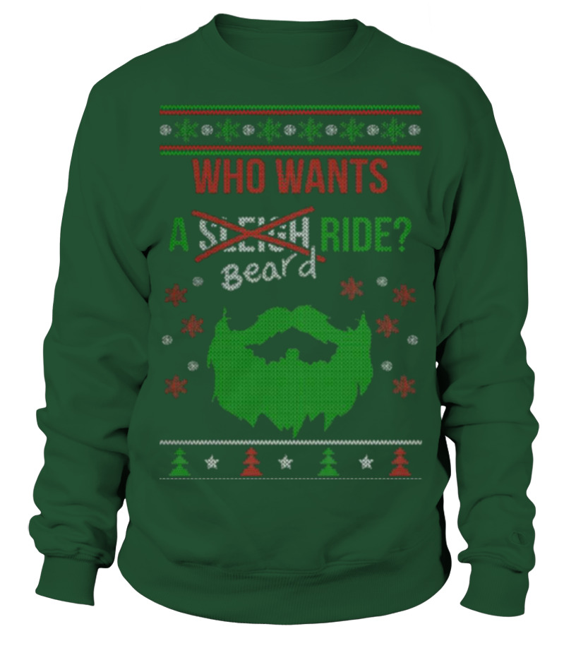 Shop Christmas - Beard Ride  Christmas Sweater Printed Sweatshirt Unisex