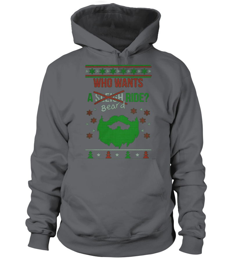 Shop Christmas - Beard Ride  Christmas Sweater Printed Hoodie Unisex