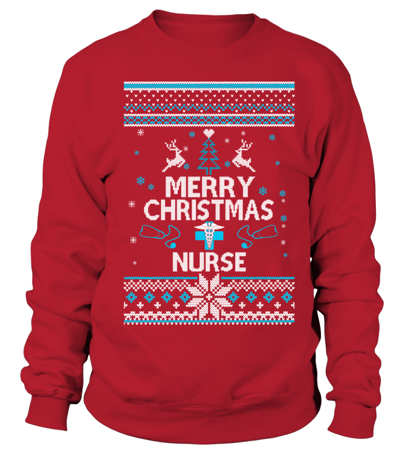 Funny Christmas - UGLY CHRISTMAS SWEATER NURSE T-SHIRT Sweatshirt Unisex