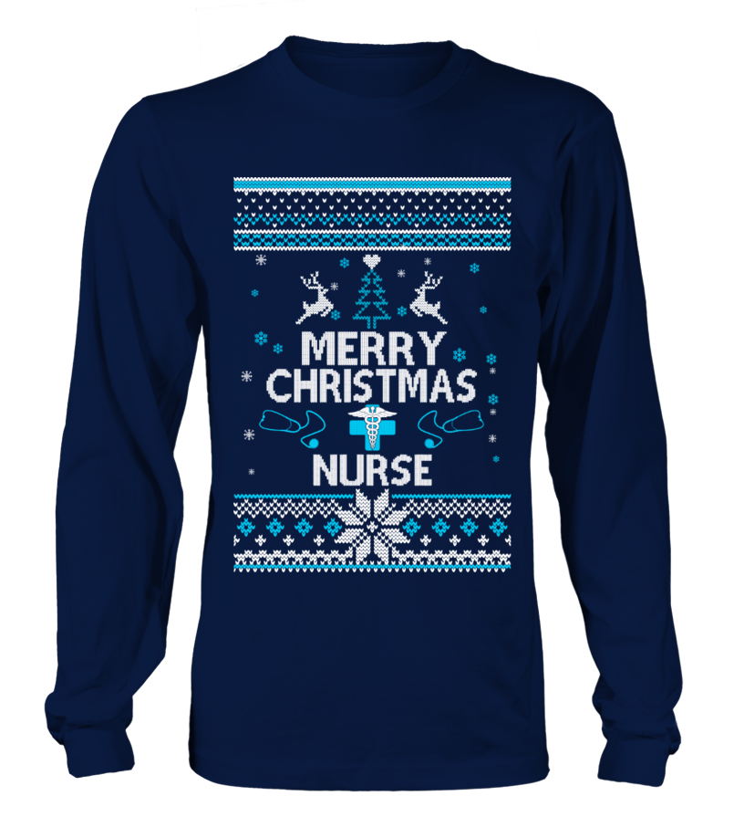 Funny Christmas - UGLY CHRISTMAS SWEATER NURSE T-SHIRT Long sleeved T-shirt Unisex