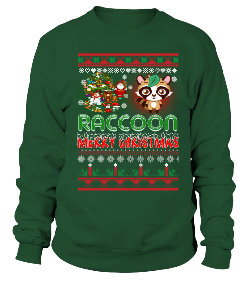 Shop Christmas - RACCOON Merry Christmas Hoodie Sweatshirt Unisex