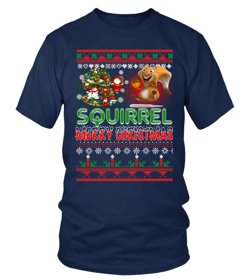 Awesome Christmas - SQUIRREL Merry Christmas Hoodie Round neck T-Shirt Unisex
