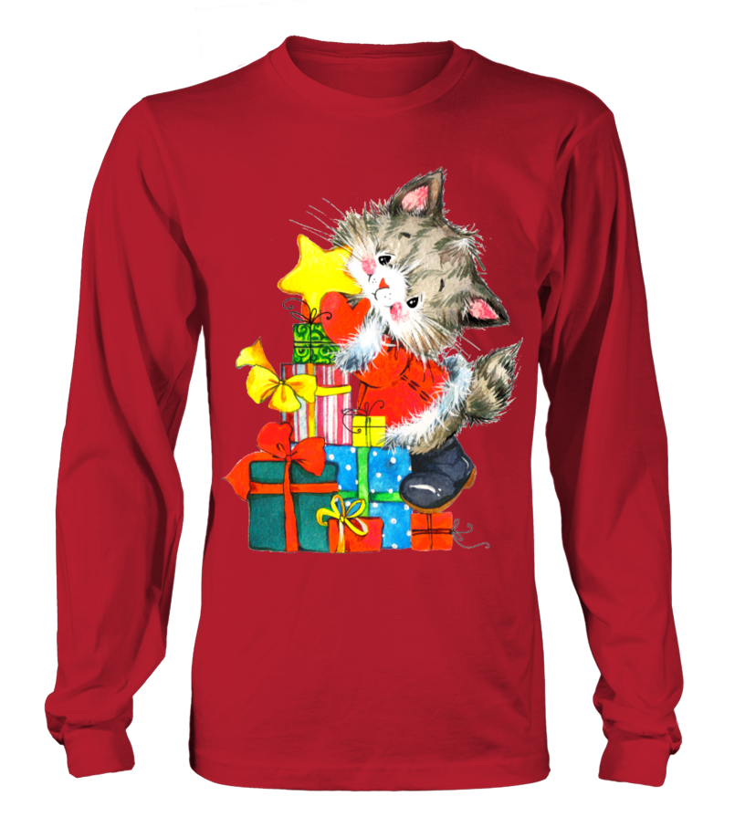 Funny Christmas - GIFTS FROM A CHRISTMAS CAT Long sleeved T-shirt Unisex