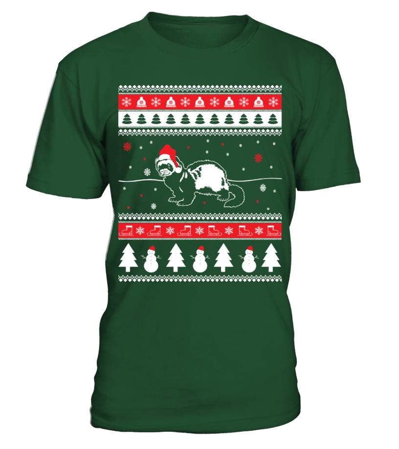 Funny Christmas - Ferret Ugly Christmas Sweater Round neck T-Shirt Unisex