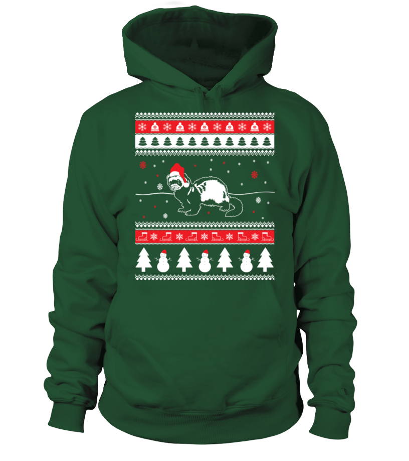 Funny Christmas - Ferret Ugly Christmas Sweater Hoodie Unisex