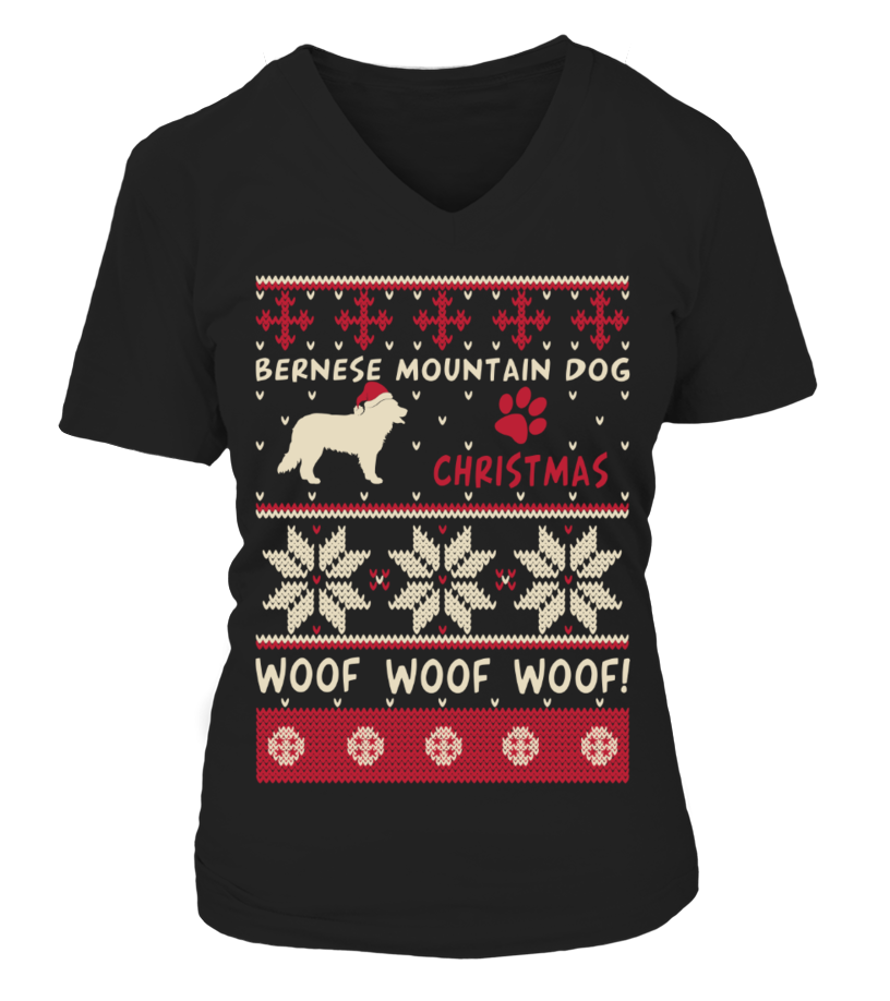 Awesome Christmas - Bernese Mountain Dog Christmas Sweater Shirt V-neck T-Shirt Woman