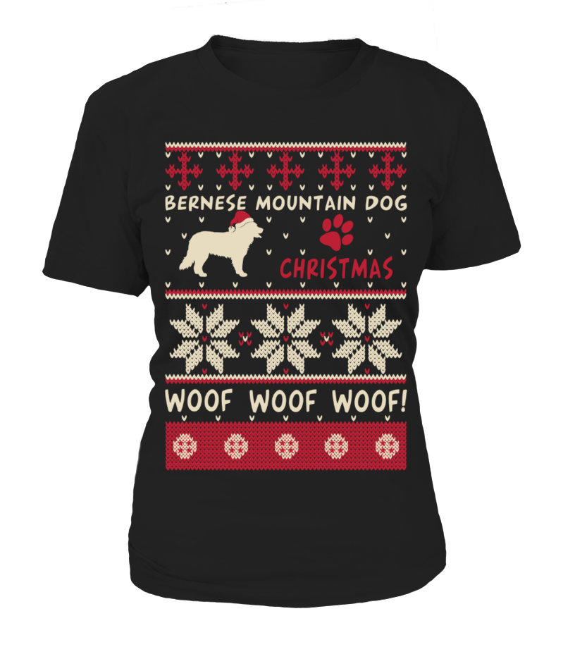 Awesome Christmas - Bernese Mountain Dog Christmas Sweater Shirt Round neck T-Shirt Woman
