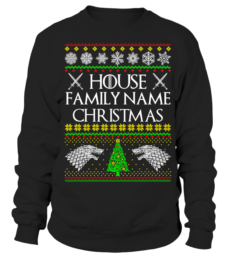 "House ""Family Name"" Christmas - Customizable Christmas Sweater"