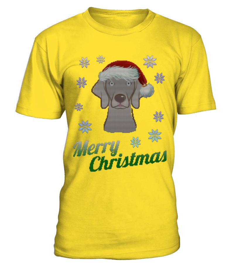 Awesome Christmas - UGLY CHRISTMAS WEIMARANER, DOG Round neck T-Shirt Unisex