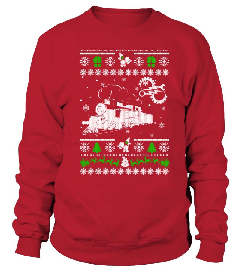 Ugly Christmas Sweater RAILROAD ENGINEER