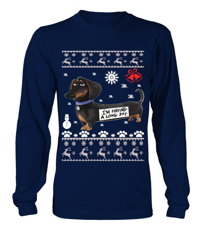 Amazing Christmas - Dachshund Ugly Christmas Sweater - Dachshund dogs Long sleeved T-shirt Unisex