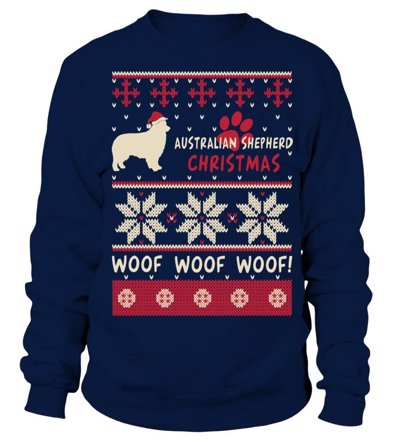 Shop Christmas - Australian Shepherd Christmas woof woof woof! Sweatshirt Unisex
