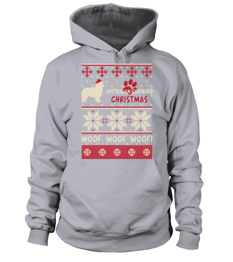 Shop Christmas - Australian Shepherd Christmas woof woof woof! Hoodie Unisex