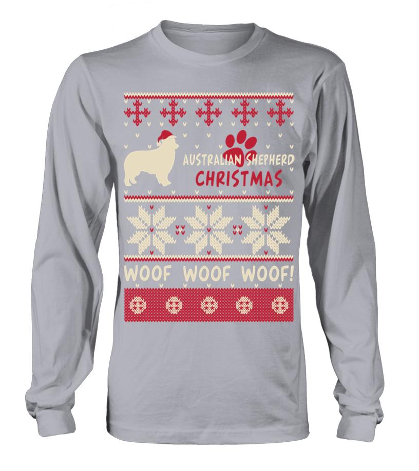 Shop Christmas - Australian Shepherd Christmas woof woof woof! Long sleeved T-shirt Unisex