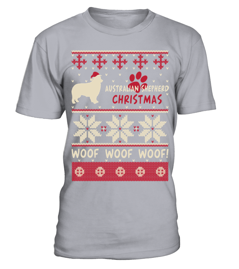 Shop Christmas - Australian Shepherd Christmas woof woof woof! Round neck T-Shirt Unisex