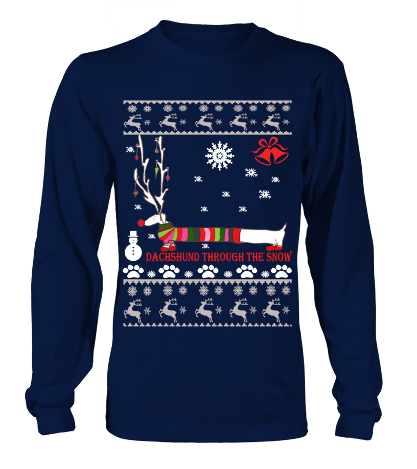 Gifts Christmas - Ugly Christmas Sweater - Dachshund dog Long sleeved T-shirt Unisex