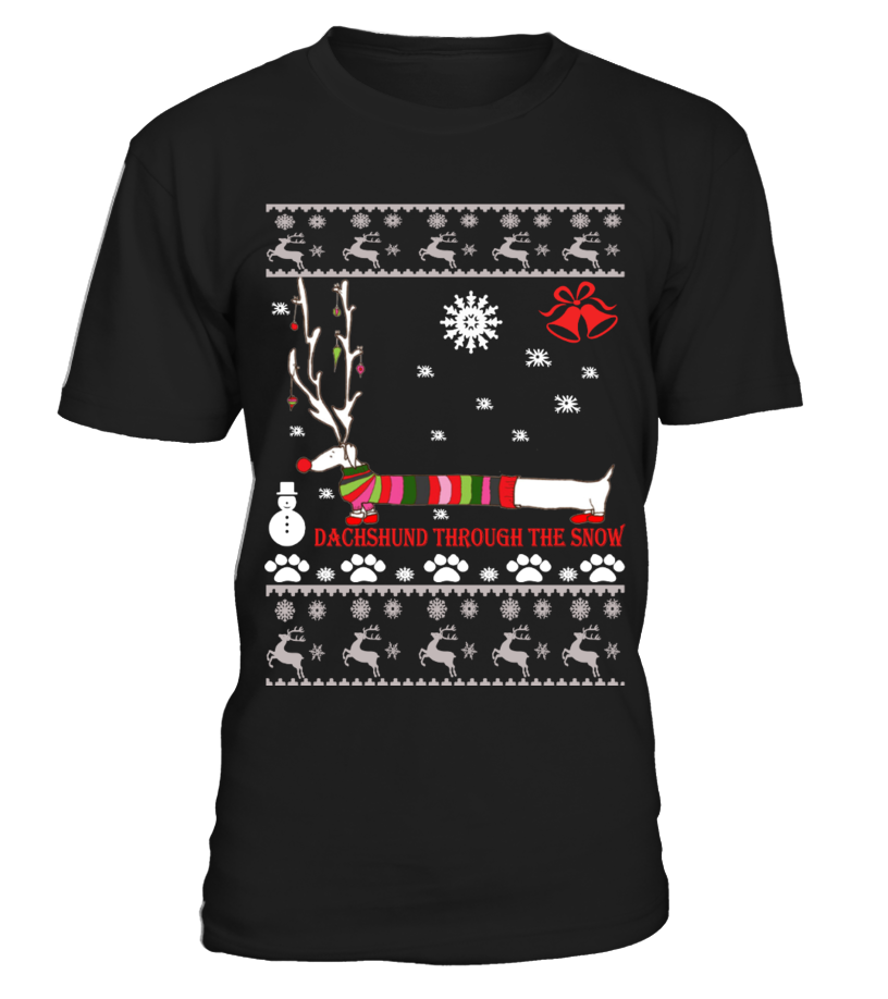 Gifts Christmas - Ugly Christmas Sweater - Dachshund dog Round neck T-Shirt Unisex