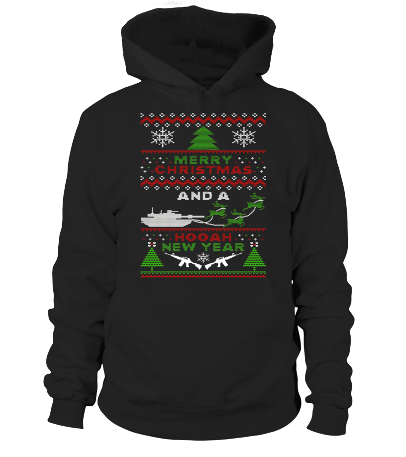Awesome Christmas - Military Ugly Christmas Sweater Tanks Guns Hooah Hoodie Unisex