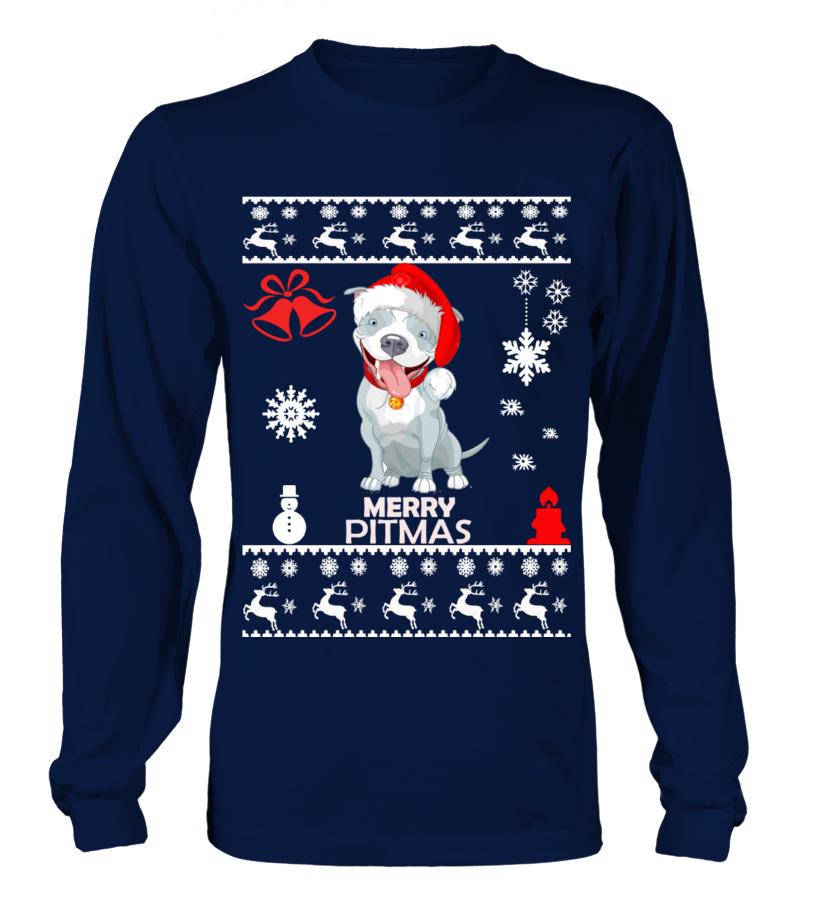 Best Christmas - Ugly Christmas Sweater - Pitbull Dog Long sleeved T-shirt Unisex