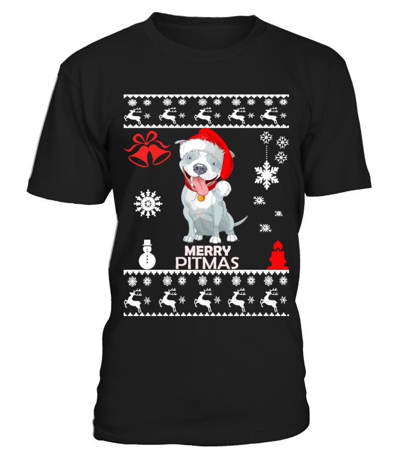 Best Christmas - Ugly Christmas Sweater - Pitbull Dog Round neck T-Shirt Unisex