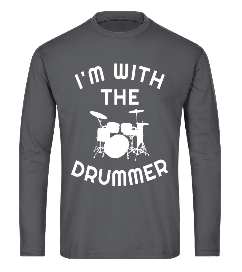 d0d0872a Funny Drums - Im With Drummer Marching Band Percussionist Concert T Shirt  Long sleeved T-