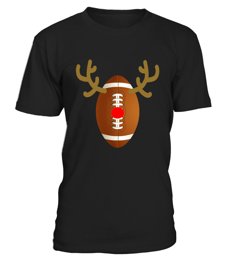 Shop Christmas - Football Reindeer  Funny Christmas Shirts Round neck T-Shirt Unisex