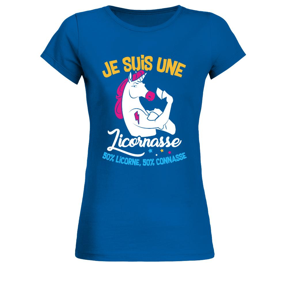 TEEZILY T-Shirt Femme Je suis Une licornasse 50/% Licorne 50/% Connasse