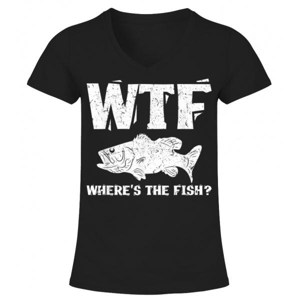 Womens WTF Where/'s The Fish Funny Fishing Shirt T-Shirt