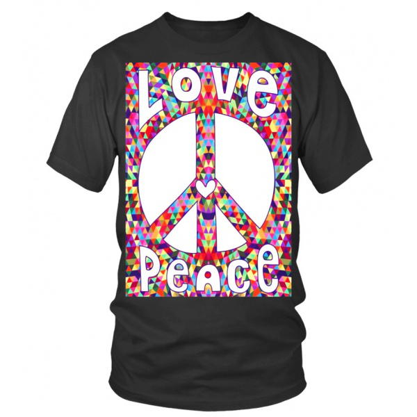 Peace Sign Love T Shirt 60s 70s Tie Dye Hippie Costume Shirt T